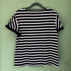 Talbots Tops - Talbots Navy/White Striped Top Ruffles Sleeves S/P